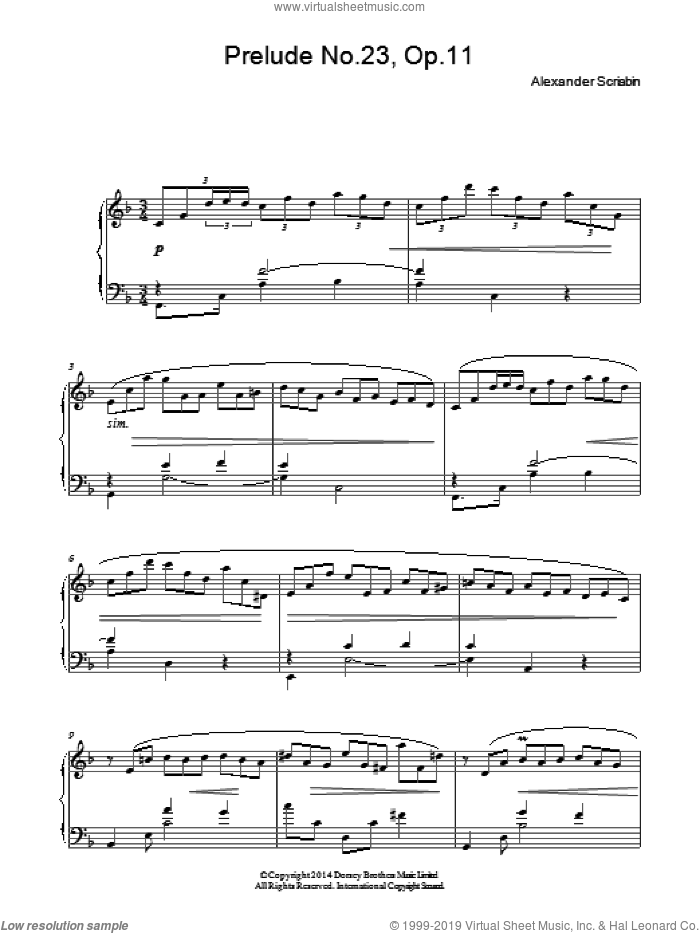 Prelude No. 23, Op.11 sheet music for piano solo by Alexander Scriabin. Score Image Preview.