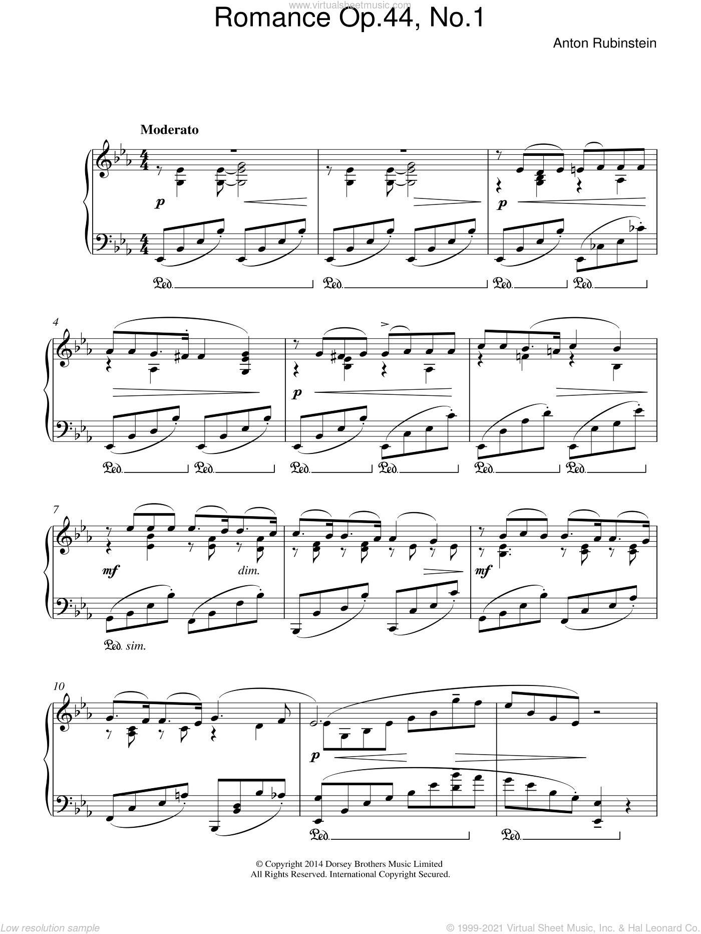 Romance, Op.44 No. 1 sheet music for piano solo by Anton Rubinstein, classical score, intermediate skill level