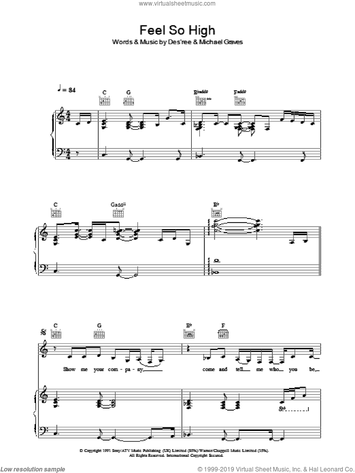 Feel So High sheet music for voice, piano or guitar by Des'ree and Michael Graves, intermediate