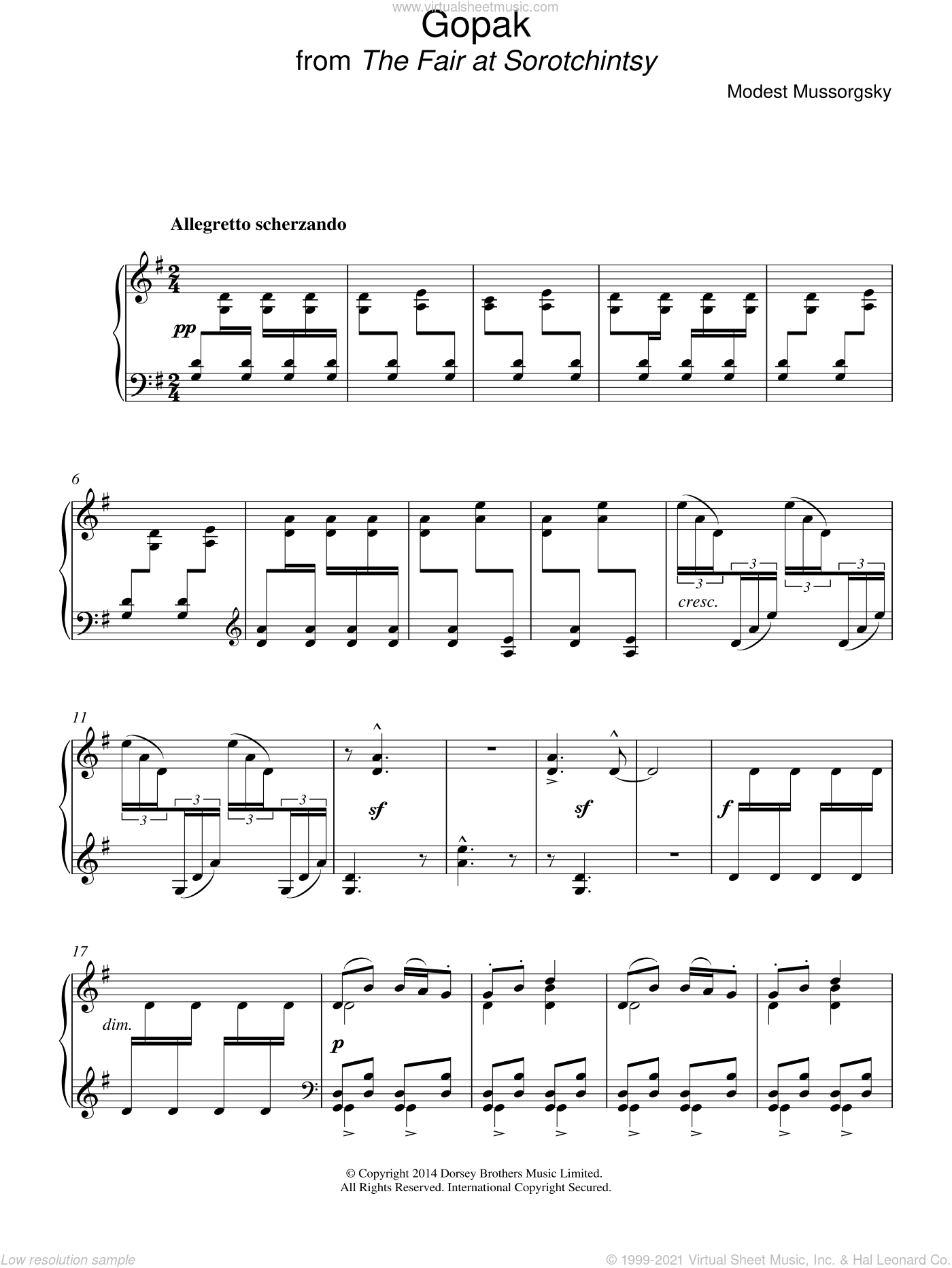 Gopak (from Sorotchinsky Fair) sheet music for piano solo by Modest Petrovic Mussorgsky. Score Image Preview.