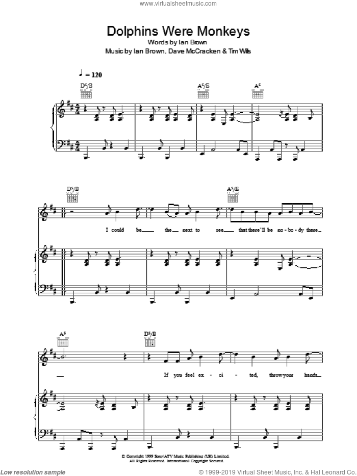 Dolphins Were Monkeys sheet music for voice, piano or guitar by Tim Wills, Ian Brown and Dave McCracken. Score Image Preview.