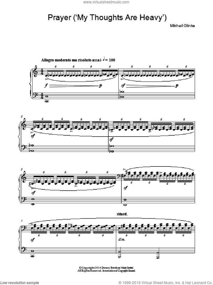 Prayer: My Thoughts Are Heavy sheet music for piano solo by Mikhail Glinka