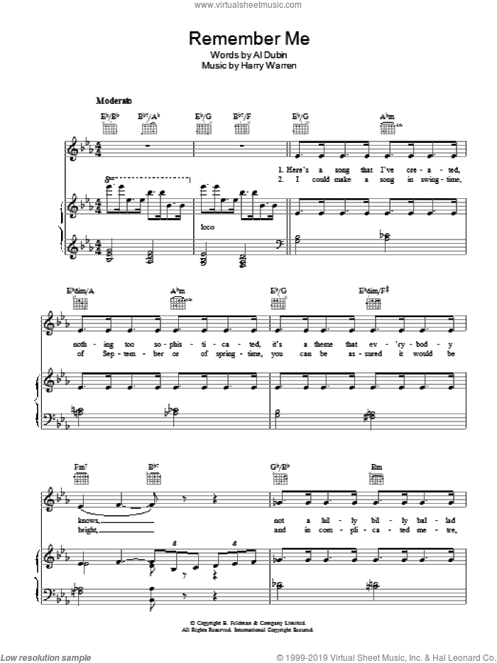 Remember Me sheet music for voice, piano or guitar by Al Dubin