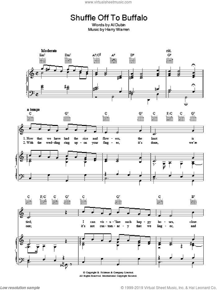 Shuffle Off To Buffalo sheet music for voice, piano or guitar by Al Dubin