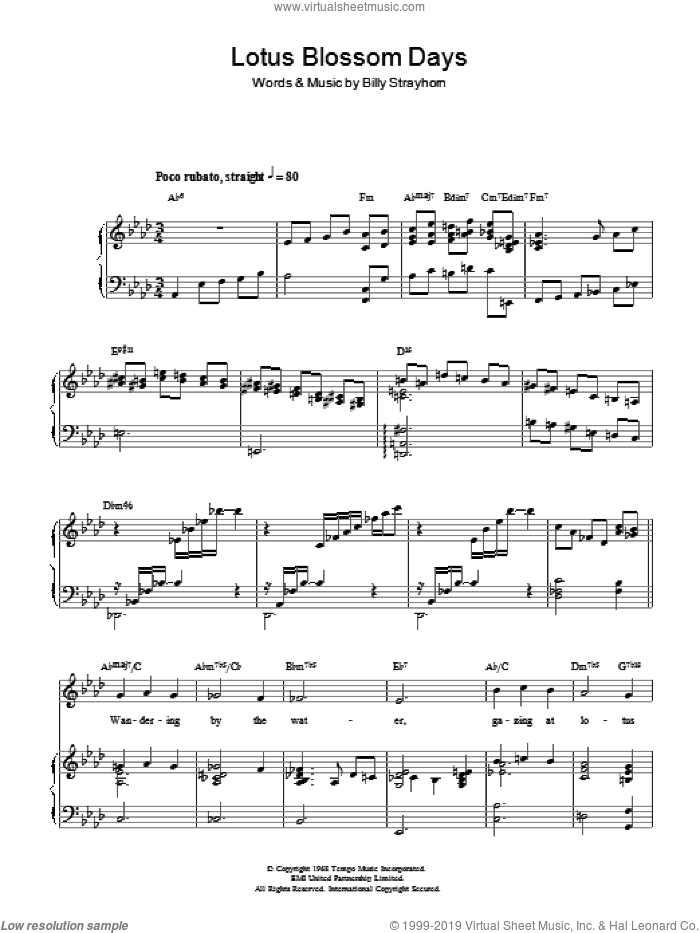Lotus Blossom sheet music for voice, piano or guitar by Billy Strayhorn. Score Image Preview.