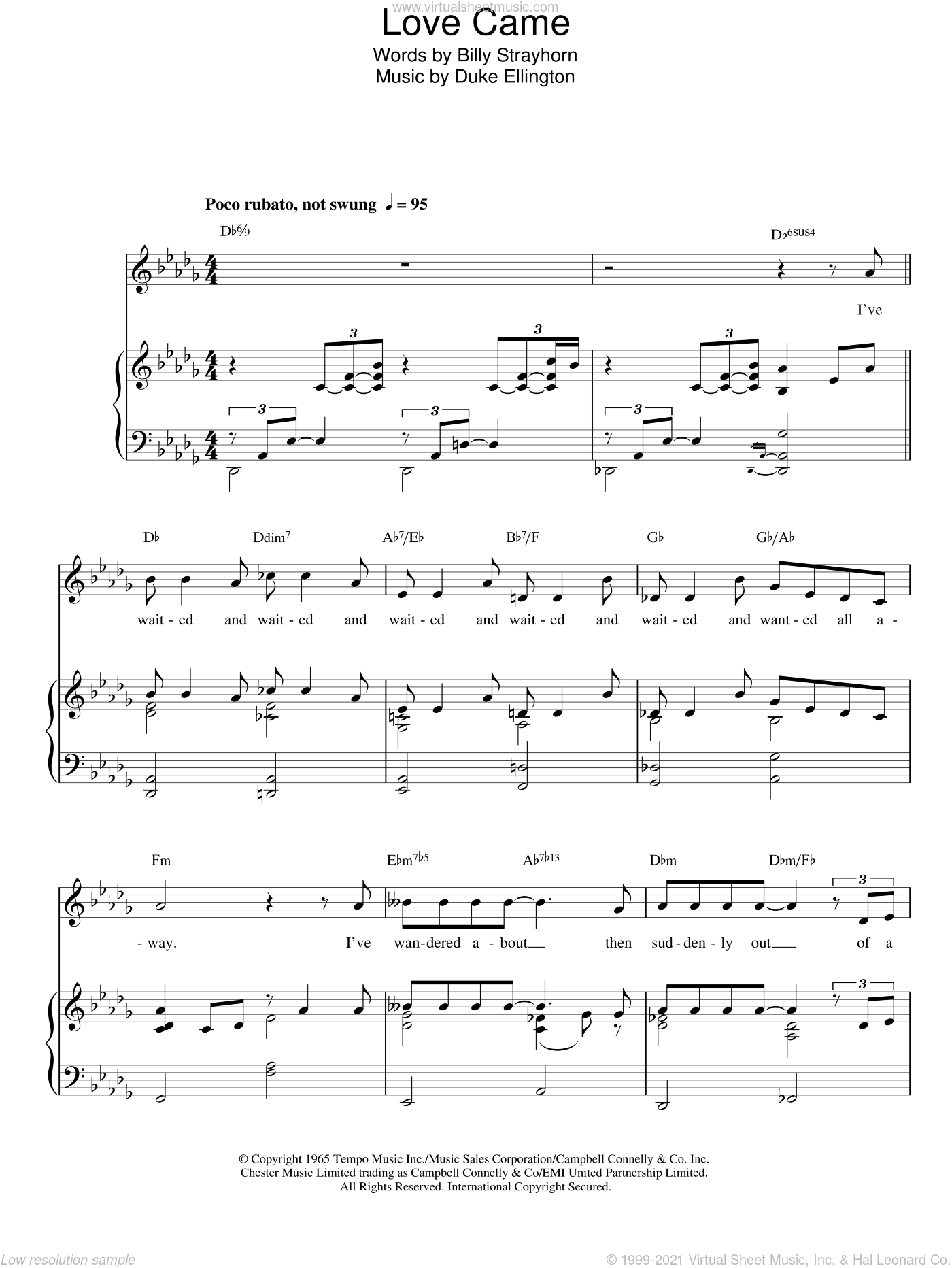 Love Came sheet music for voice, piano or guitar by Duke Ellington
