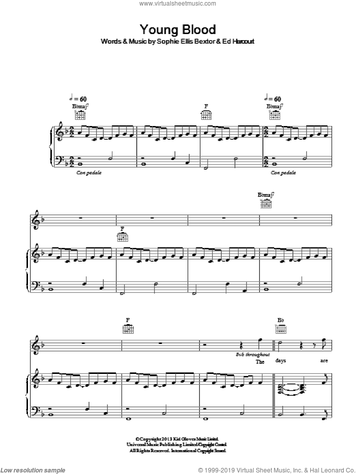 Young Blood sheet music for voice, piano or guitar by Sophie Ellis Bextor, intermediate. Score Image Preview.