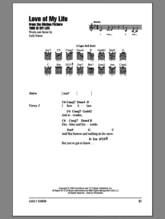 Love Of My Life sheet music for guitar (chords) by Carly Simon, intermediate skill level