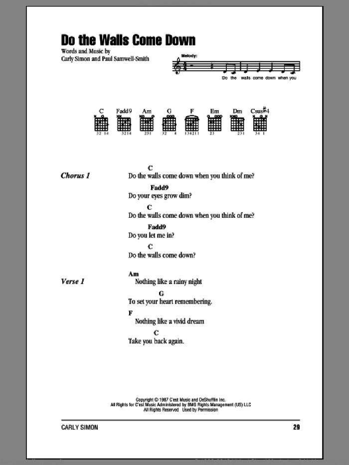 Do The Walls Come Down sheet music for guitar (chords) by Carly Simon and Paul Samwell-Smith, intermediate skill level