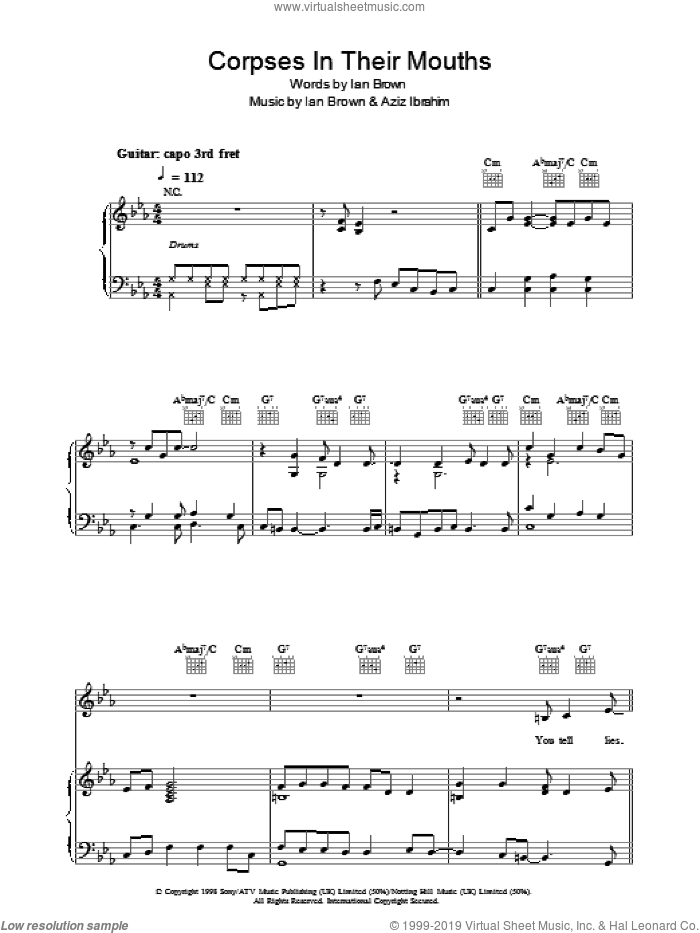 Corpses In Their Mouths sheet music for voice, piano or guitar by Ian Brown and Aziz Ibrahim, intermediate skill level