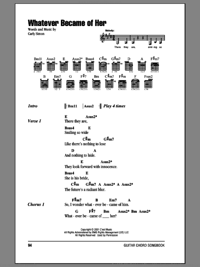 Whatever Became Of Her sheet music for guitar (chords) by Carly Simon, intermediate skill level