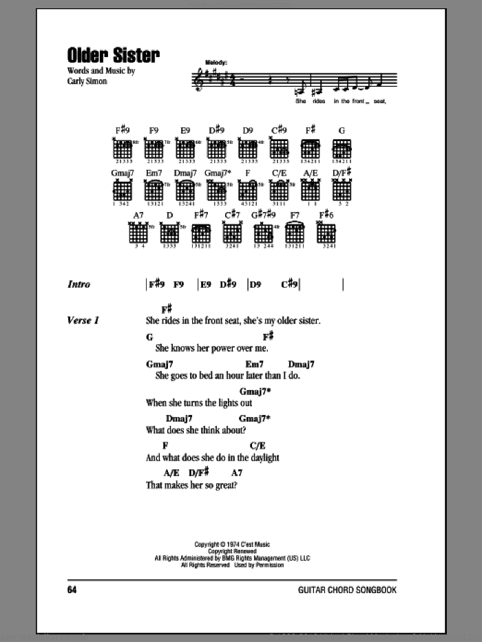 Older Sister sheet music for guitar (chords) by Carly Simon, intermediate skill level