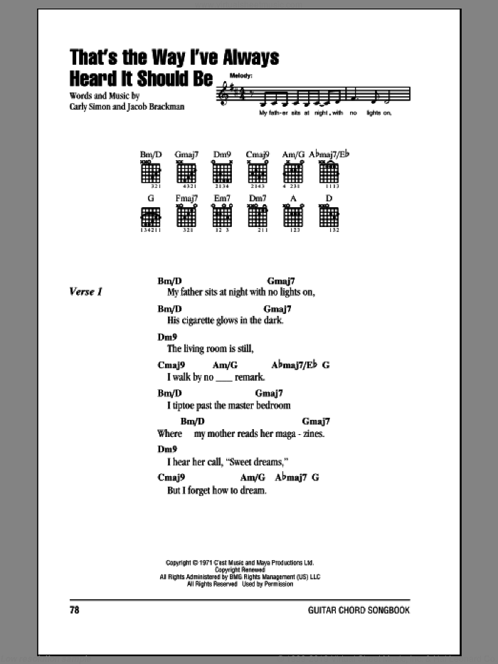 That's The Way I've Always Heard It Should Be sheet music for guitar (chords) by Carly Simon and Jacob Brackman, intermediate skill level