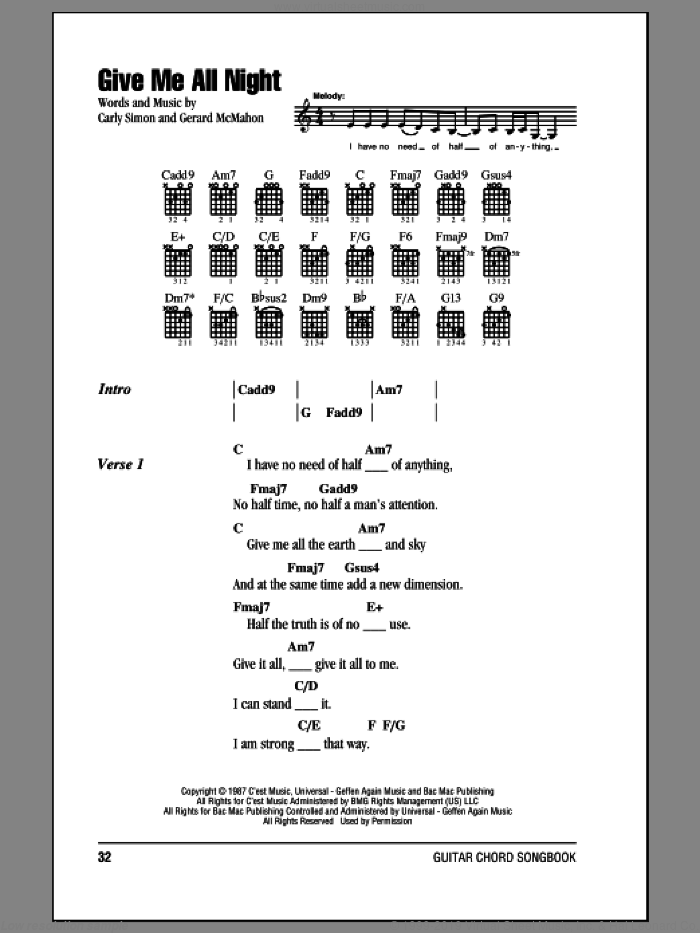 Give Me All Night sheet music for guitar (chords) by Gerard McMahon and Carly Simon. Score Image Preview.