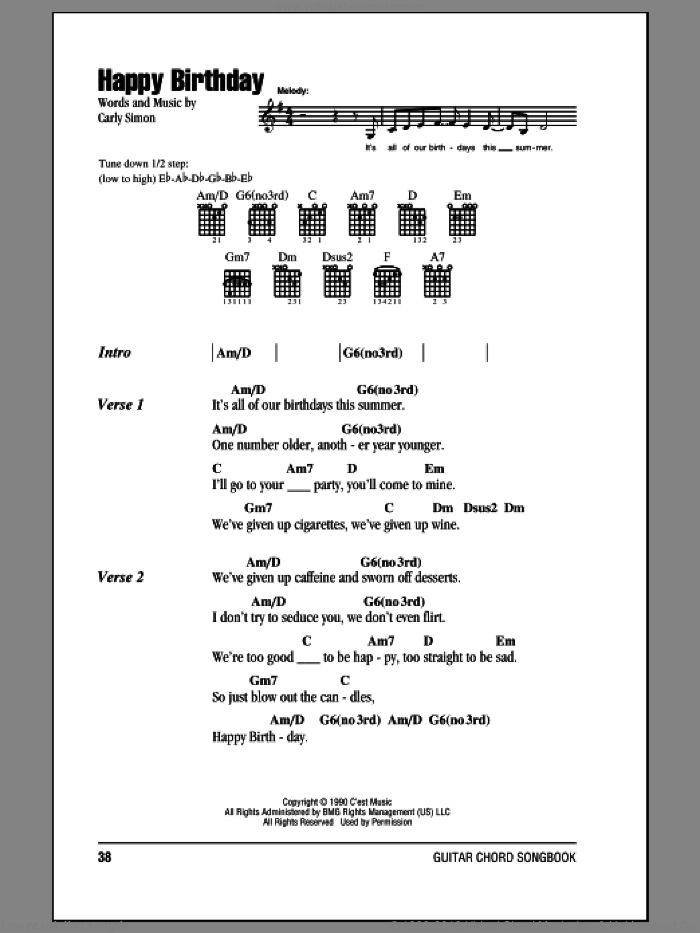 Happy Birthday sheet music for guitar (chords) by Carly Simon, intermediate skill level