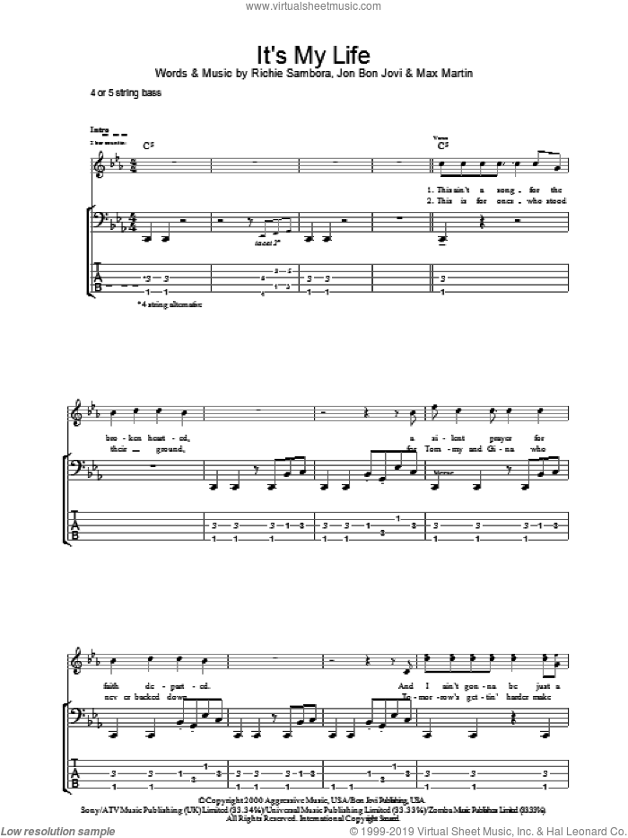 It's My Life sheet music for bass (tablature) (bass guitar) by Bon Jovi, Max Martin and Richie Sambora, intermediate skill level