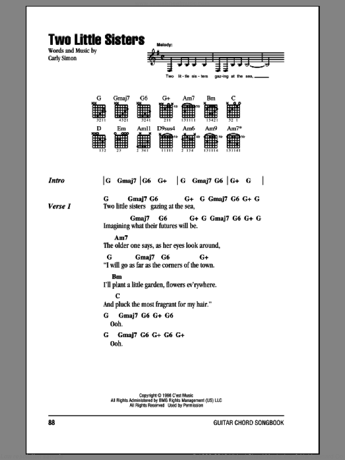Two Little Sisters sheet music for guitar (chords) by Carly Simon, intermediate skill level