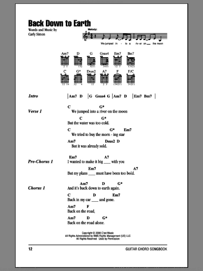 Back Down To Earth sheet music for guitar (chords) by Carly Simon, intermediate skill level