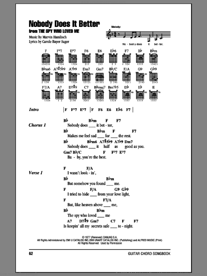 Nobody Does It Better sheet music for guitar (chords) by Carly Simon, Carole Bayer Sager and Marvin Hamlisch, intermediate skill level