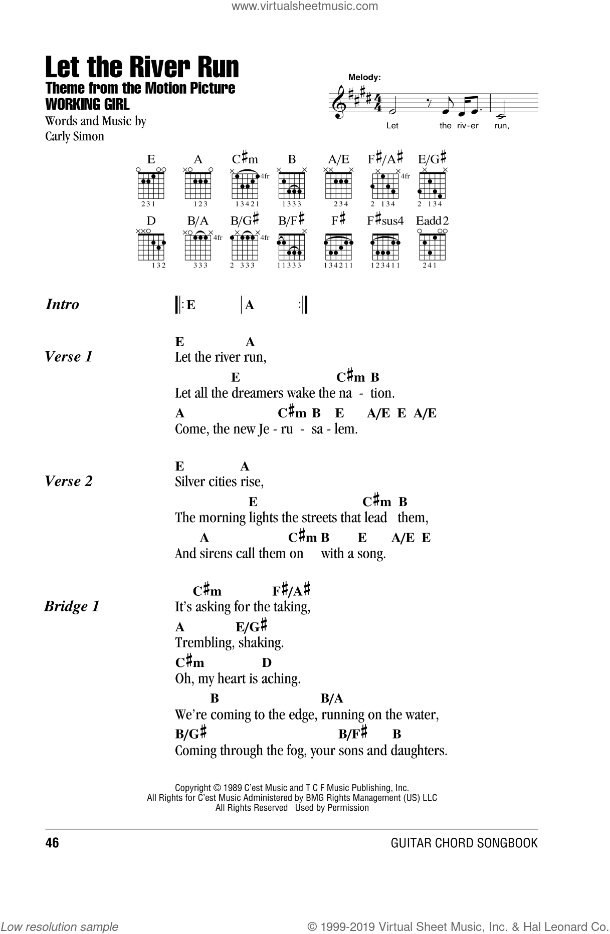 Let The River Run Sheet Music For Guitar Chords By Carly Simon Intermediate: River Run Sheet Music At Alzheimers-prions.com