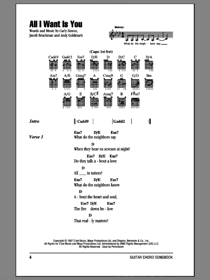 All I Want Is You sheet music for guitar (chords) by Carly Simon, Andy Goldmark and Jacob Brackman, intermediate skill level