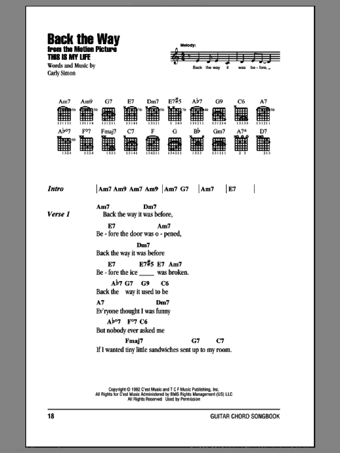 Back The Way sheet music for guitar (chords) by Carly Simon, intermediate skill level