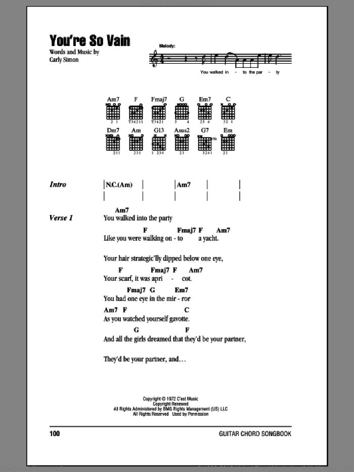 You're So Vain sheet music for guitar (chords) by Carly Simon, intermediate skill level