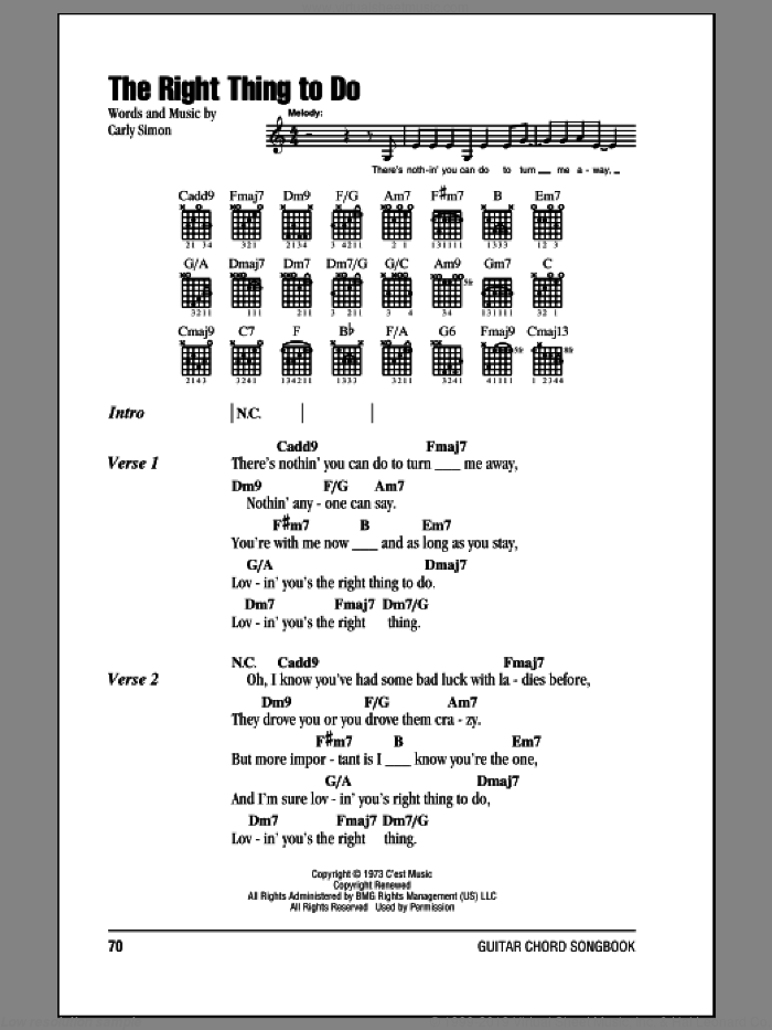 The Right Thing To Do sheet music for guitar (chords) by Carly Simon, intermediate skill level