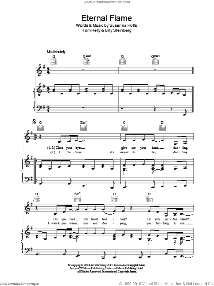 Eternal Flame sheet music for voice, piano or guitar by The Bangles, Atomic Kitten, Billy Steinberg, Susanna Hoffs and Tom Kelly, intermediate skill level