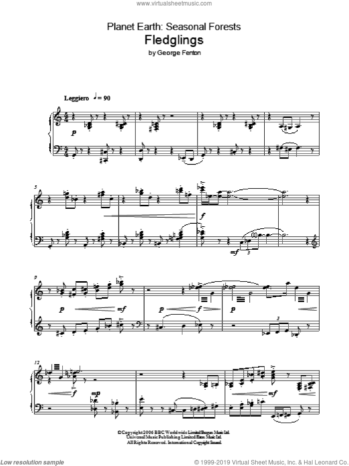 Planet Earth: Fledglings sheet music for piano solo by George Fenton, intermediate. Score Image Preview.