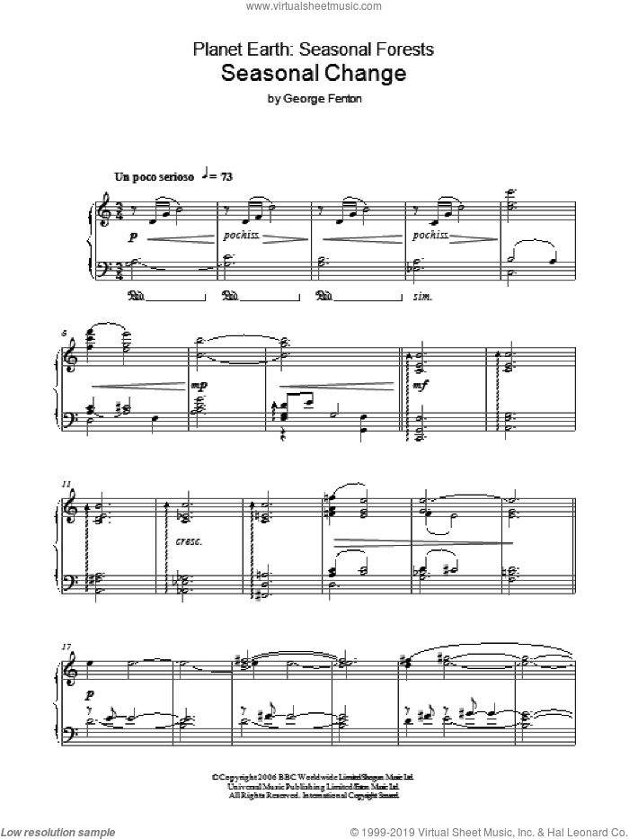 Planet Earth: Seasonal Change sheet music for piano solo by George Fenton, intermediate