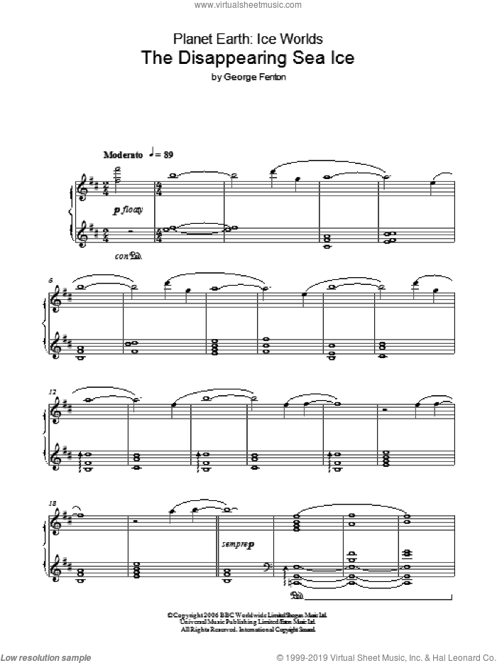 Planet Earth: The Disappearing Sea Ice sheet music for piano solo by George Fenton, intermediate piano. Score Image Preview.