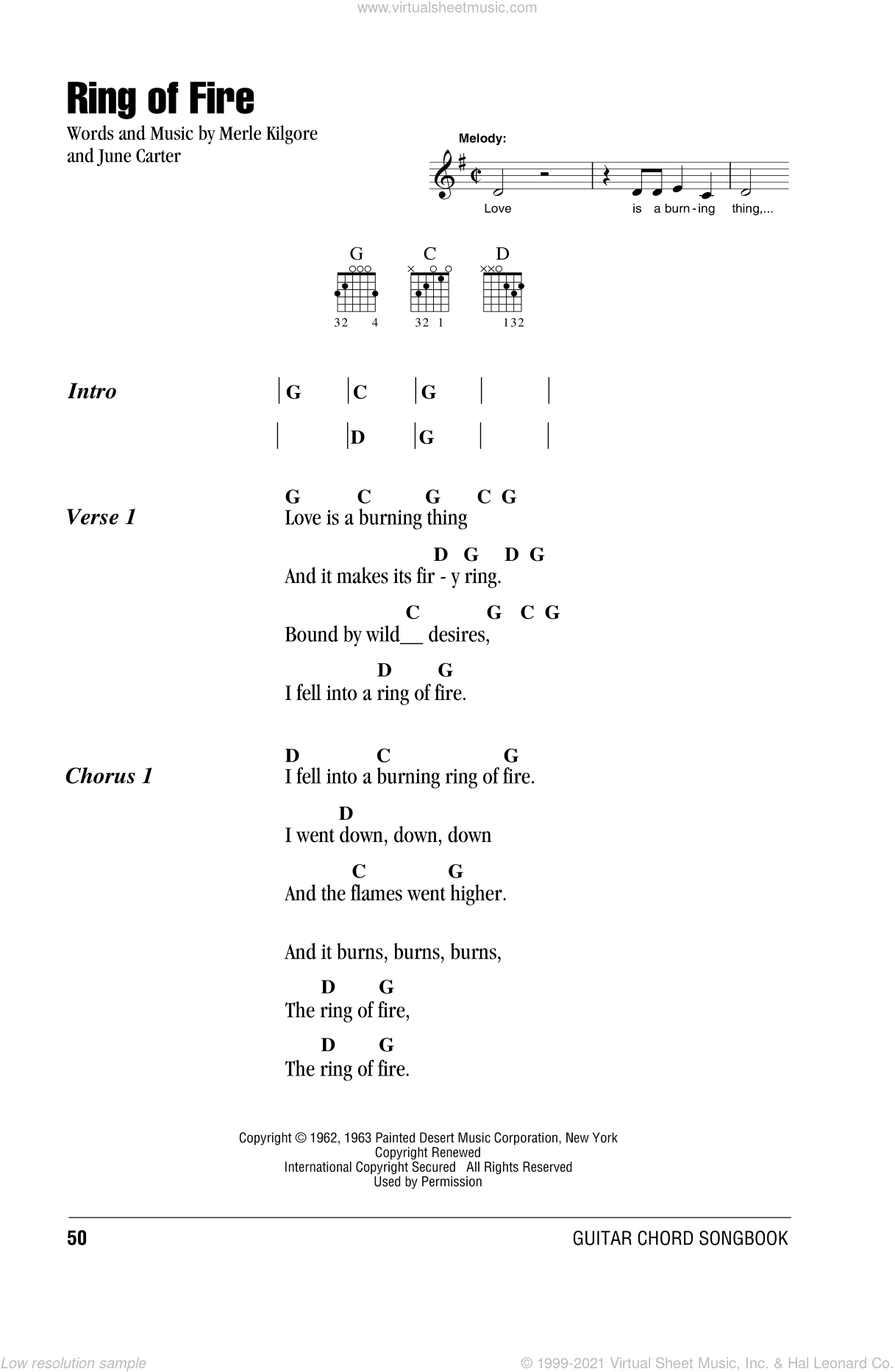 Ring Of Fire sheet music for guitar (chords) by Johnny Cash, June Carter and Merle Kilgore, intermediate. Score Image Preview.