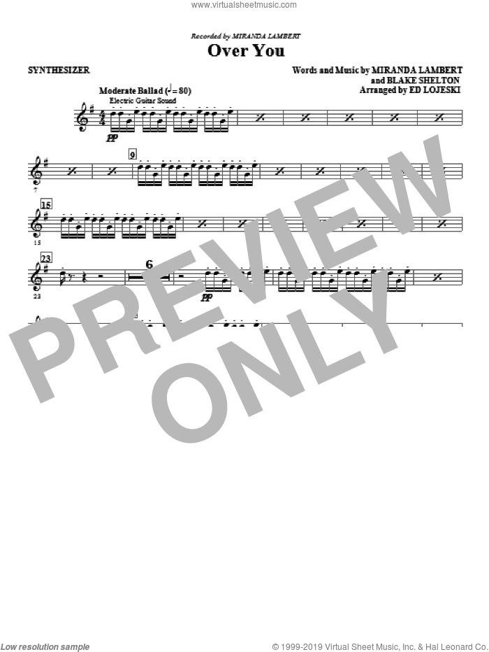 Over You (complete set of parts) sheet music for orchestra/band by Ed Lojeski, Blake Shelton and Miranda Lambert, intermediate skill level