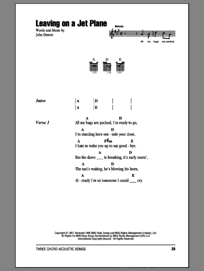 Leaving On A Jet Plane sheet music for guitar (chords) by John Denver and Peter, Paul & Mary, intermediate skill level