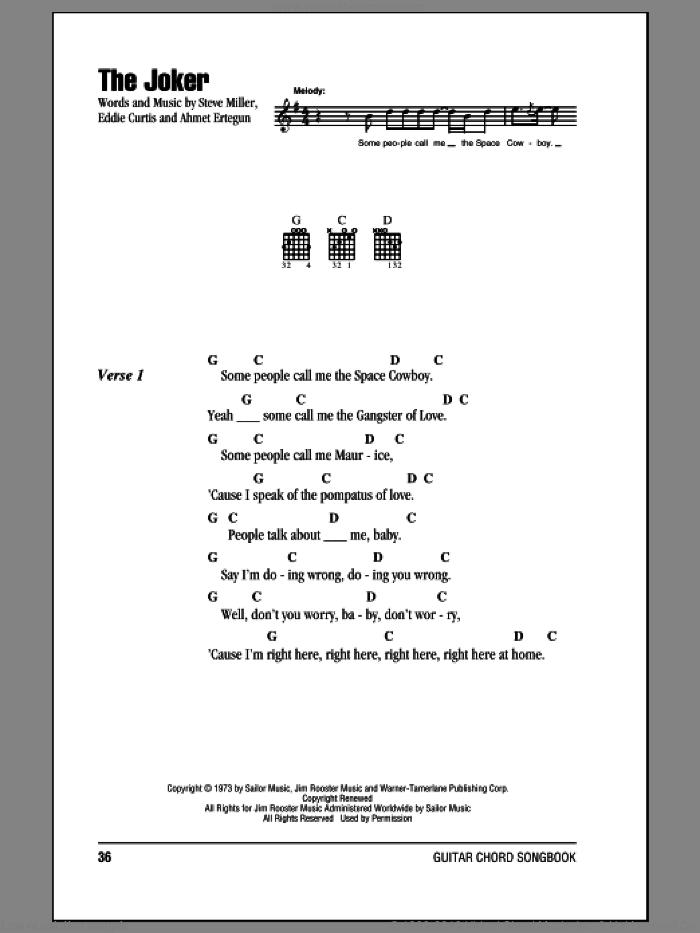 The Joker sheet music for guitar (chords) by Steve Miller Band, k.d. lang, Ahmet Ertegun, Eddie Curtis and Steve Miller, intermediate skill level