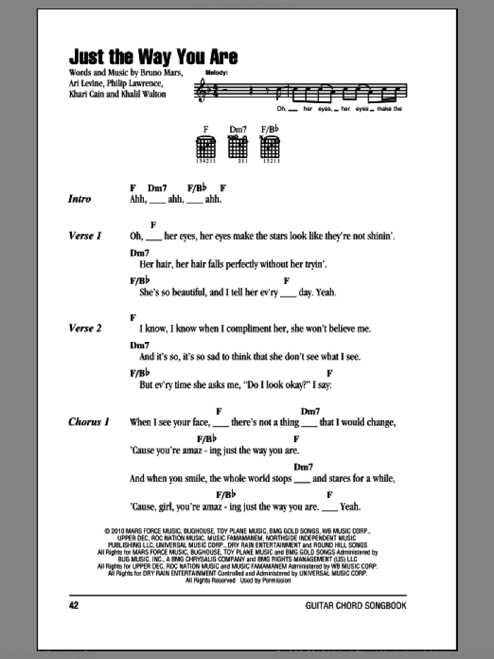 Just The Way You Are sheet music for guitar (chords) by Philip Lawrence, Ari Levine, Bruno Mars, Khalil Walton and Khari Cain. Score Image Preview.