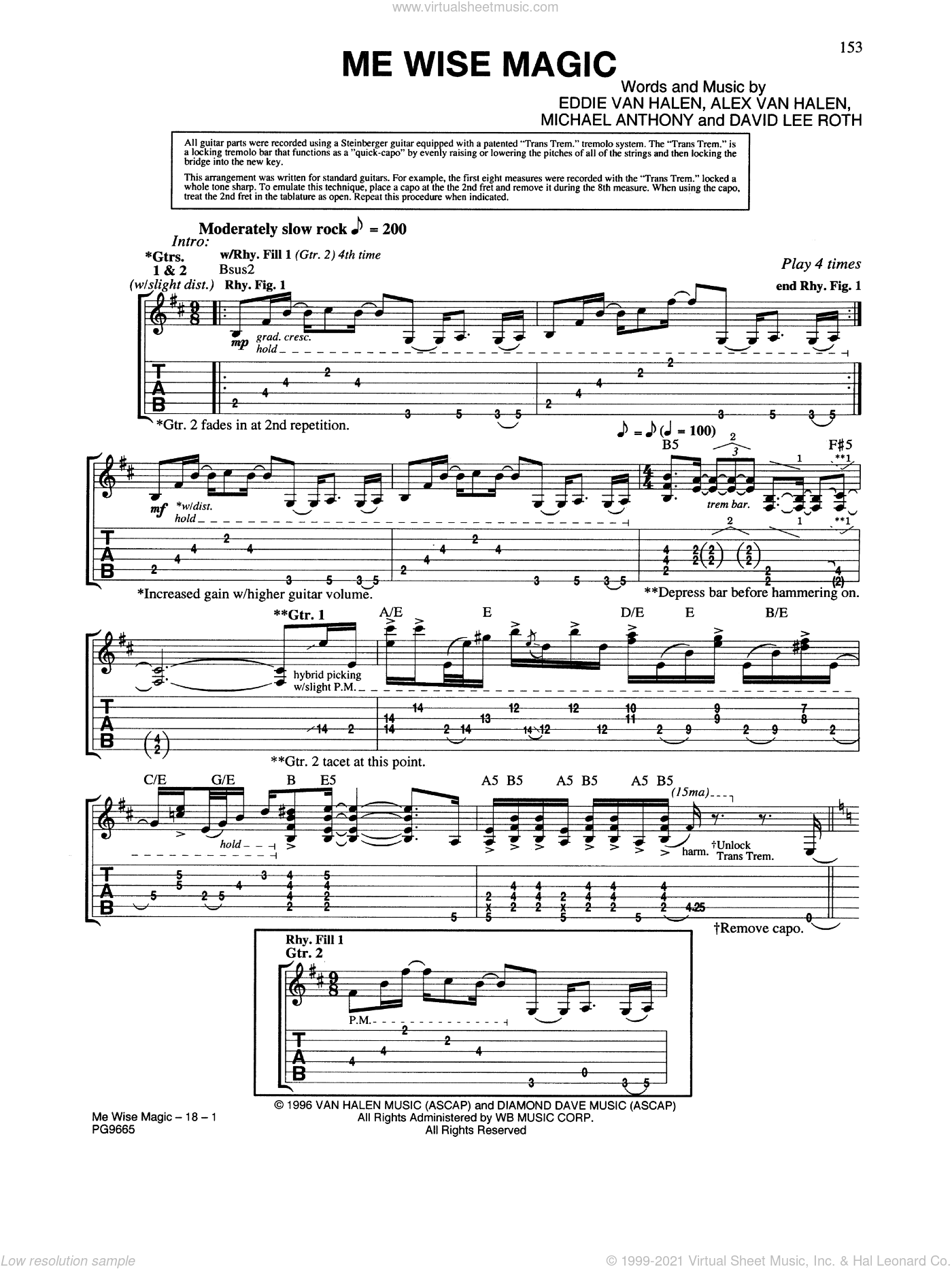 Me Wise Magic sheet music for guitar (tablature) by Edward Van Halen, Alex Van Halen, David Lee Roth and Michael Anthony, intermediate. Score Image Preview.