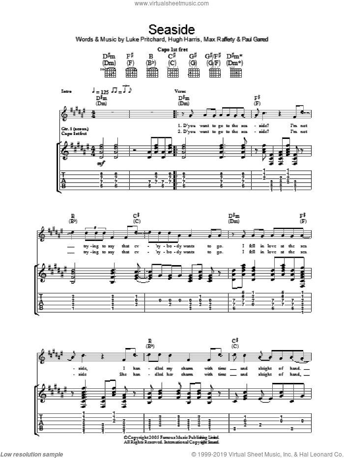 Seaside sheet music for guitar (tablature) by Paul Garred, The Kooks, Hugh Harris and Luke Pritchard. Score Image Preview.