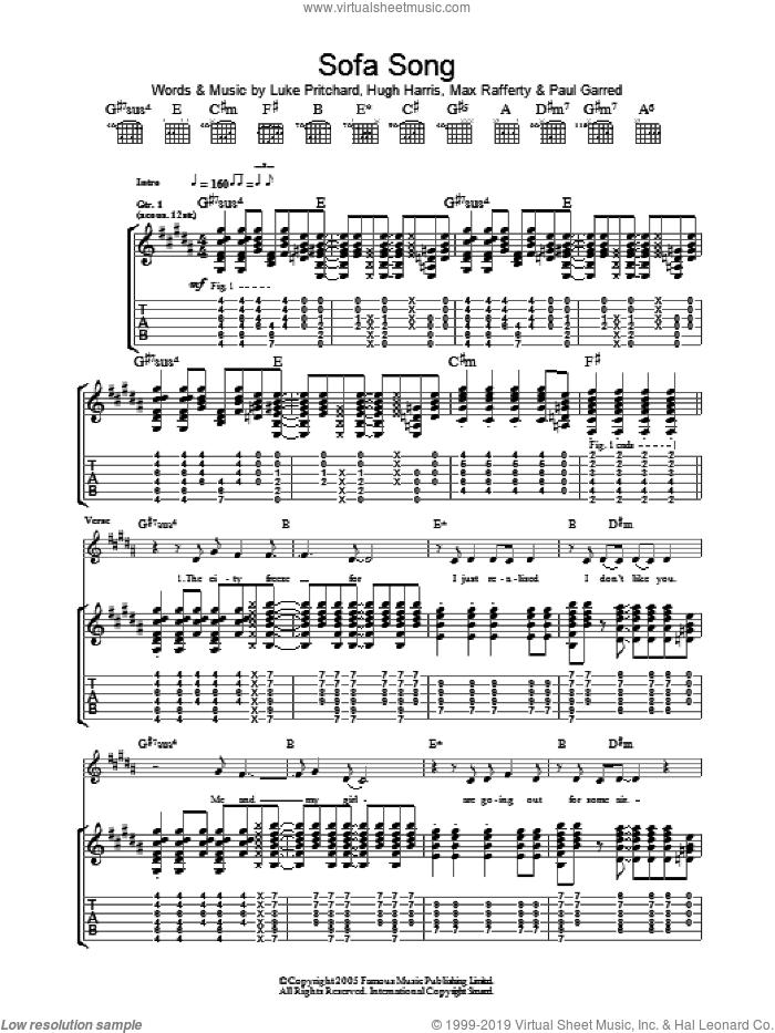 Sofa Song sheet music for guitar (tablature) by The Kooks, Hugh Harris, Luke Pritchard, Max Rafferty and Paul Garred, intermediate skill level
