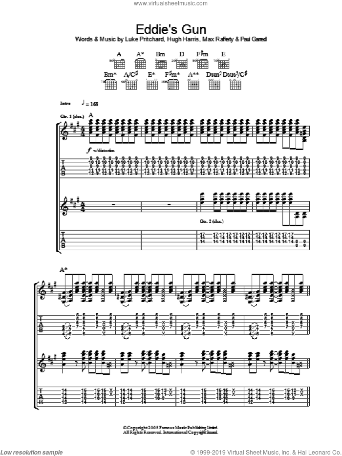 Eddie's Gun sheet music for guitar (tablature) by Paul Garred, The Kooks, Hugh Harris and Luke Pritchard. Score Image Preview.