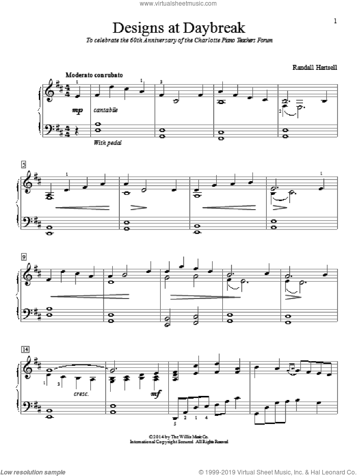 Designs At Daybreak sheet music for piano solo (elementary) by Randall Hartsell. Score Image Preview.
