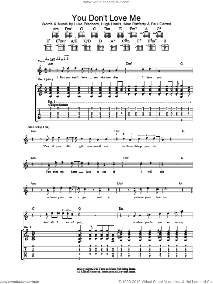 You Don't Love Me sheet music for guitar (tablature) by Paul Garred