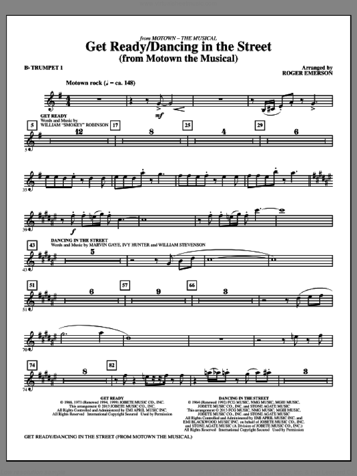 Get Ready/Dancing In The Street (complete set of parts) sheet music for orchestra/band by Roger Emerson and Marvin Gaye, intermediate skill level