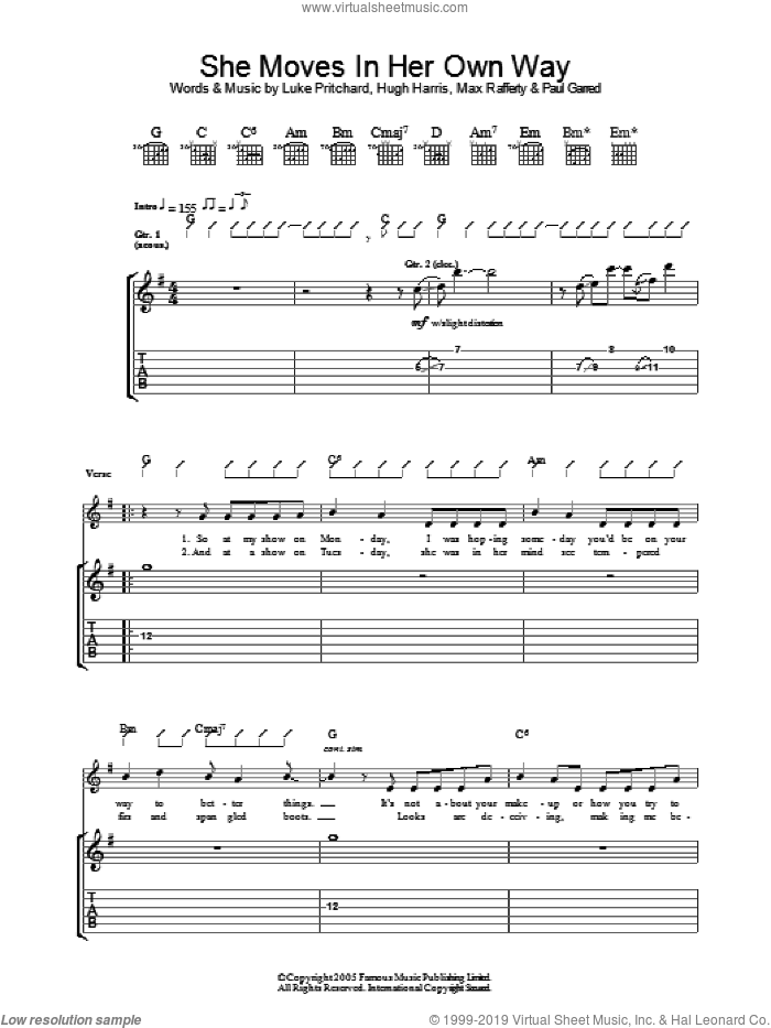 She Moves In Her Own Way sheet music for guitar (tablature) by The Kooks, Hugh Harris, Luke Pritchard, Max Rafferty and Paul Garred, intermediate skill level
