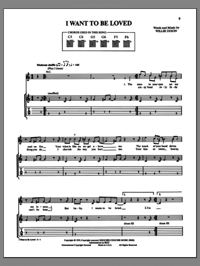 I Want To Be Loved sheet music for guitar (tablature) by Willie Dixon and Muddy Waters. Score Image Preview.