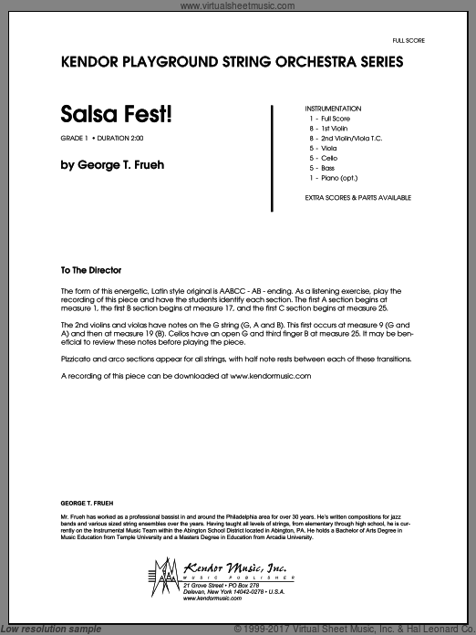 Salsa Fest! (COMPLETE) sheet music for orchestra by George T. Frueh