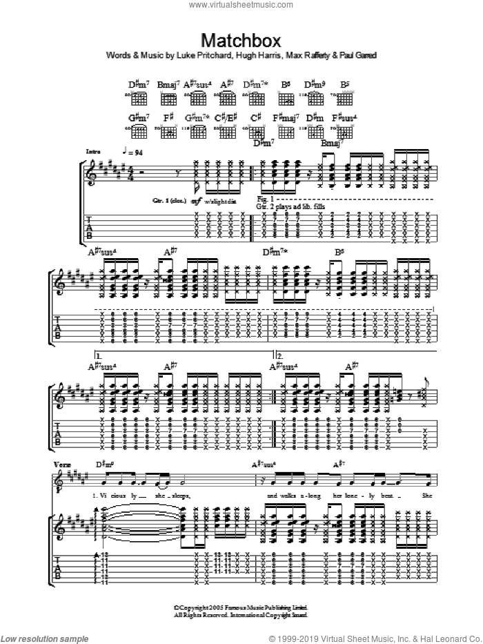 Matchbox sheet music for guitar (tablature) by Paul Garred, The Kooks, Hugh Harris and Luke Pritchard. Score Image Preview.
