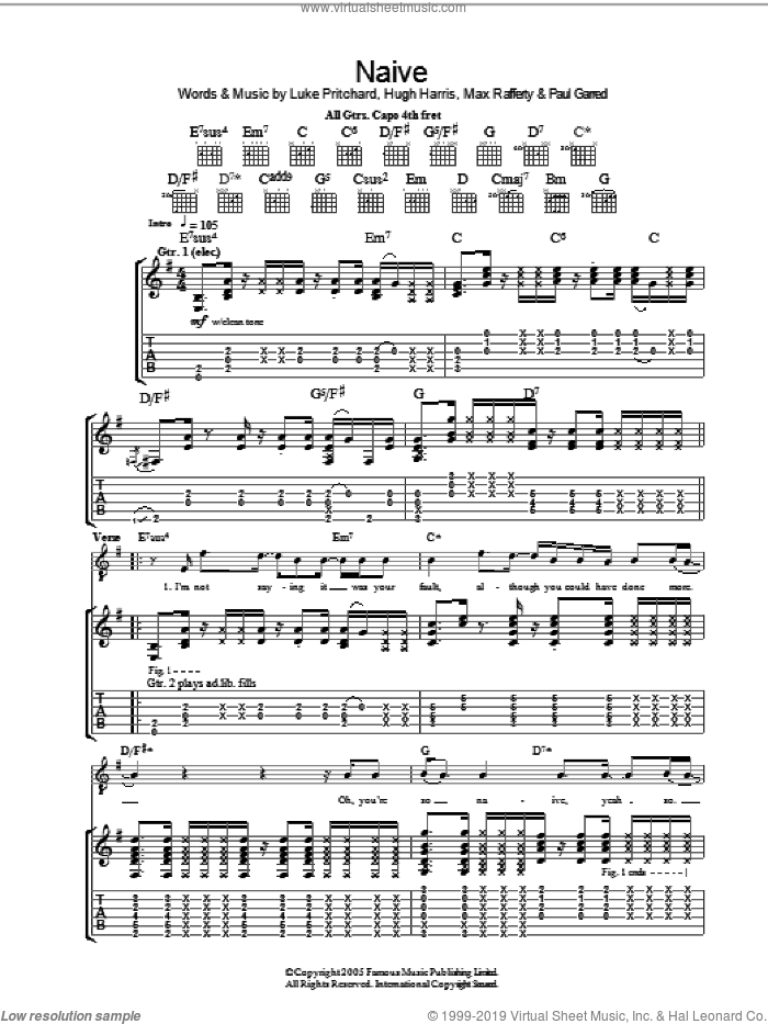 Naive sheet music for guitar (tablature) by Paul Garred, The Kooks, Hugh Harris and Luke Pritchard. Score Image Preview.