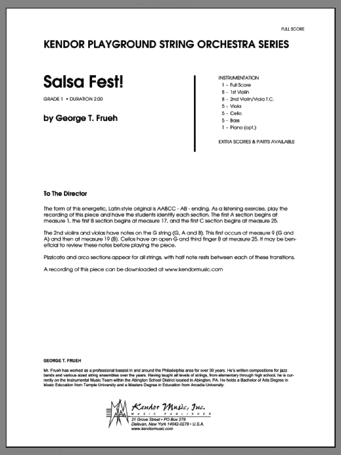 Salsa Fest! (COMPLETE) sheet music for orchestra by George T. Frueh, intermediate. Score Image Preview.